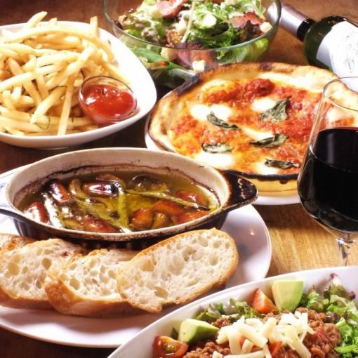 【Torubo's easy course】 All 5 items including Ajillo, Margherita + All-you-can-drink all-you-can-eat 3000 yen (tax included)