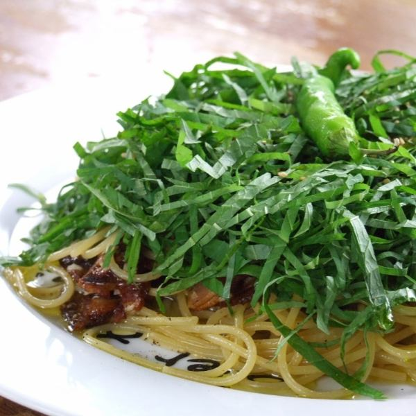 【Boasting pasta】 Pasta with blue pepper and large leaf