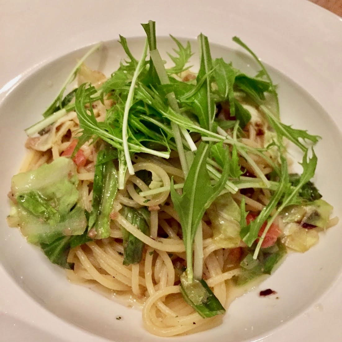 Japanese style pasta with bacon and seasonal vegetables