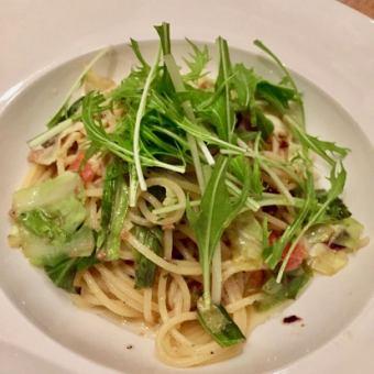 ベーコンと季節野菜の和風パスタ