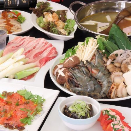 Popular No.1 ■ For various banquets ◎ Farewell Accommodation Hot pot course (Sichuan soup soup and special salt soup) 3h with all you can drink