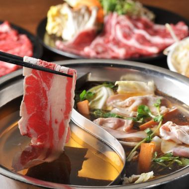 """""""2 types of shabu-shabu"""" beef · pork · lamb · beef tongue · various kinds of vegetables, all four types of soup, all four types of sauce etc."""