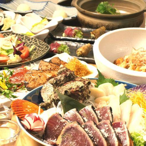 【土佐和牛とカツオ塩タタキコース】炙りカツオ&和牛◆全10品 5000円(飲物別)◆