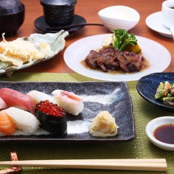 【ランチ限定】握り寿司と道産牛ステーキの御膳