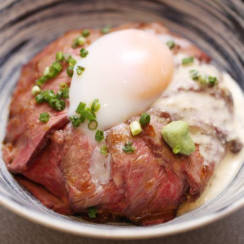 北海道産牛のローストビーフ丼 ~山わさびソースをかけて