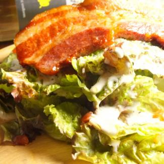 Slab bacon Caesar salad