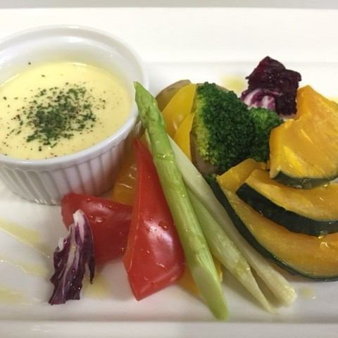 Warm yellow vegetable warm vegetables ~ Cheddar cheese sauce ~