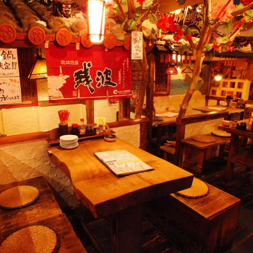 熱門的座位讓人想起沖繩的舊私人住宅!