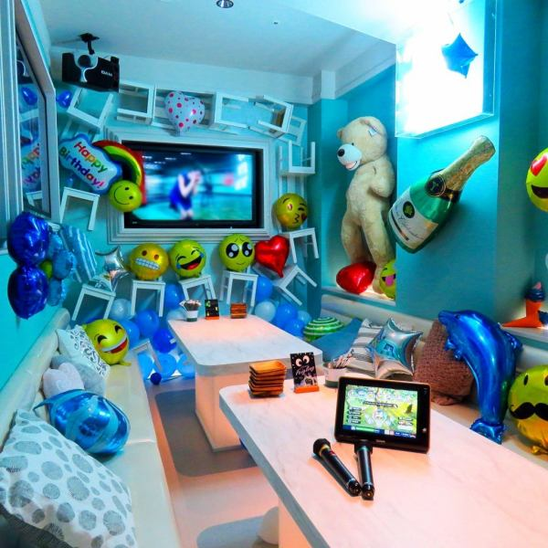 Refreshing blue fairy tale private room ♪ ♪ Up to 12 guests OK! Everyone can be excited with karaoke equipment! At the birthday party, decorate a private room with a balloon Surprise ☆ Dive into the private room door Impact, it's impressive ♪ ♪