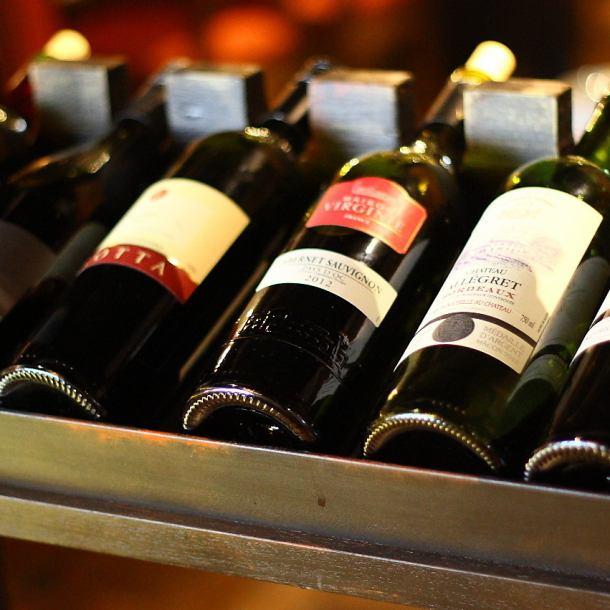 ☆好きなワインを選んで注ぐ新感覚のセルフスタイル。時間無制限で飲み放題★1990円!!赤白&スパークリング、サングリア、ワインカクテル等約100種飲み放題★