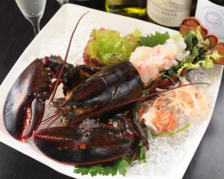 (限定10餐)生鱼片1克罕见龙虾的
