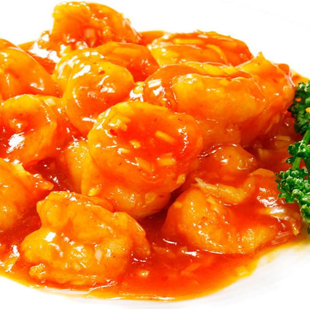 大虾的煮沸的辣椒酱