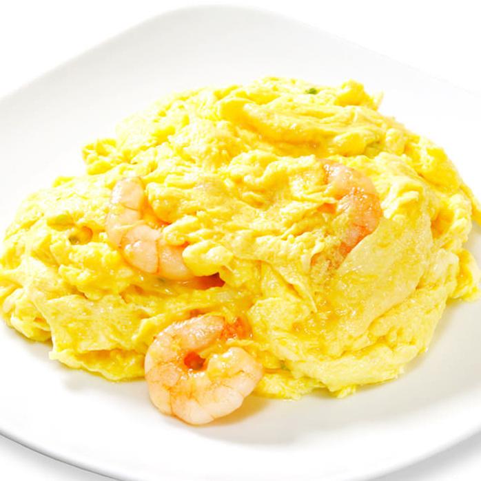 Stir-fried shrimp prawn and egg