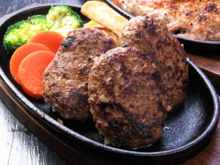 【All-you-can-drink for 2 hours】 (All-you-can-eat 100%! Char-grilled Hamburg) All 10 items 3500 yen course】