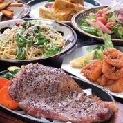 【2小时全友畅饮】(全10件商品5000日元套餐)(鹿儿岛牛里脊牛排和季节鱼木炭烧烤)】