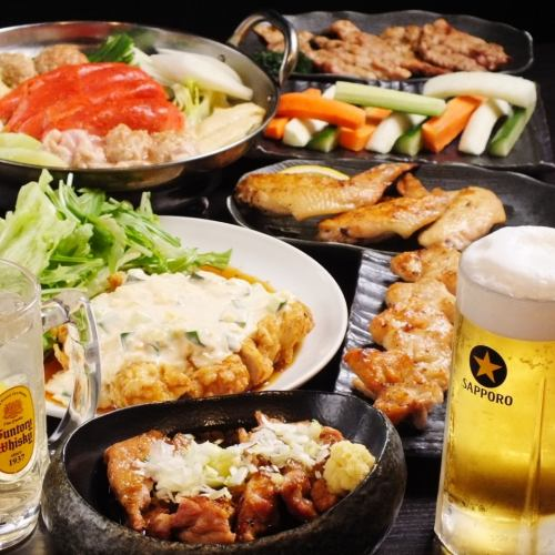 【Chicken Nabe Course】 7 items in total + 2 ~ 3 hours with unlimited drinks ★ 4500 ~ 5500 yen