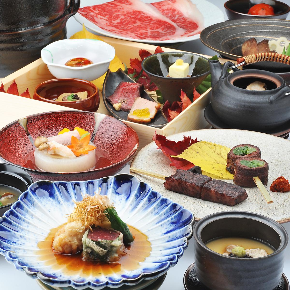 请享用制作肉类的怀石料理。
