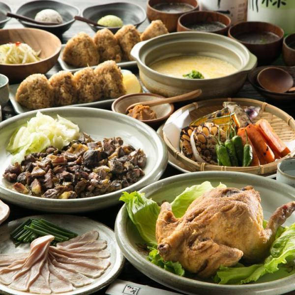 Luxurious! 【6000 yen course】 with peach charcoal grill and chicken fried luxurious 9 items 2 hours drinking titles included