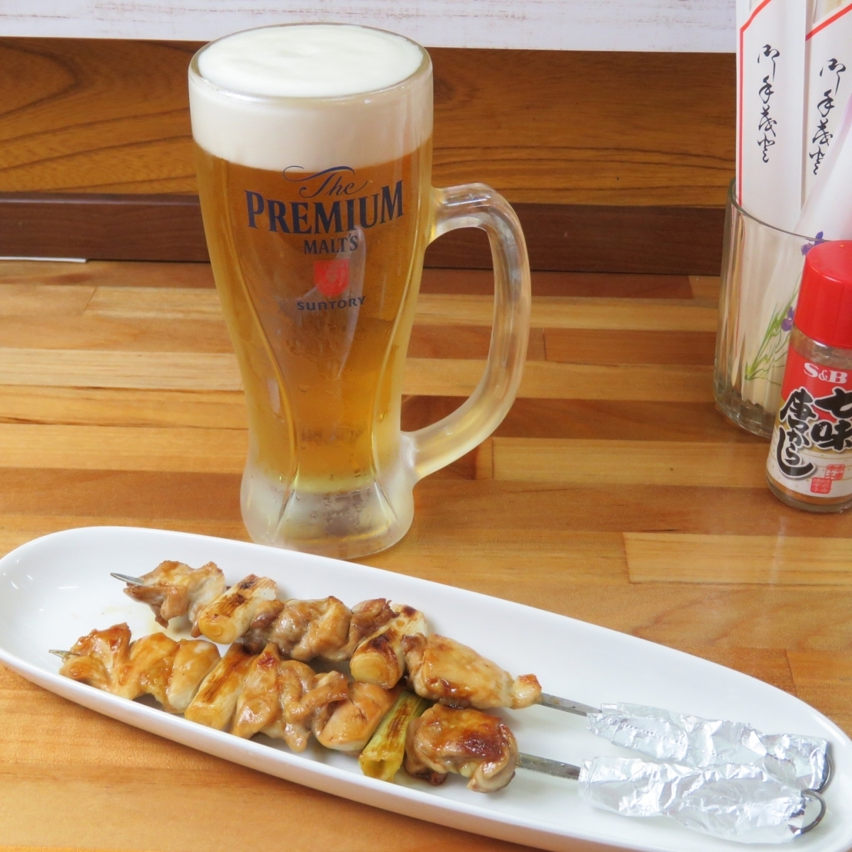 Yakitori and beer.Iron plate!