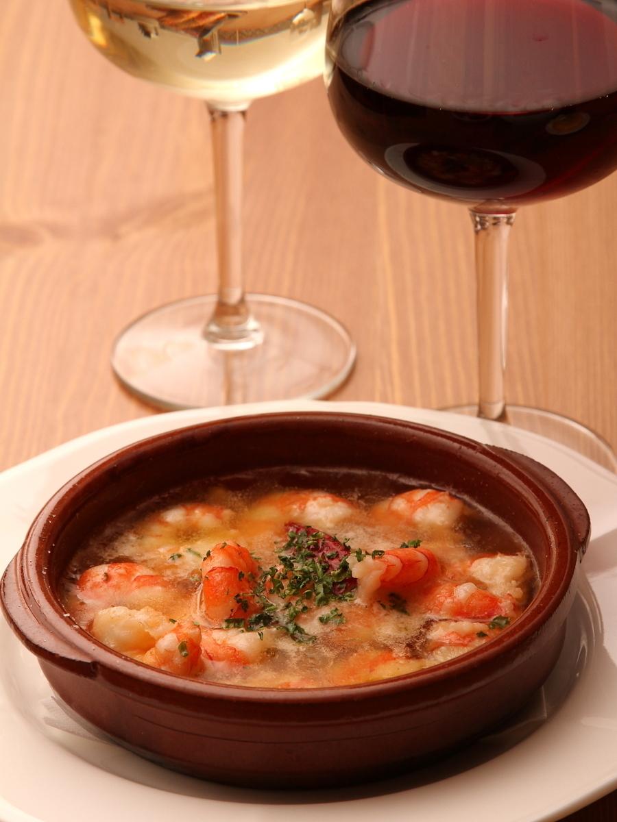 Boiled shrimp ahidjo garlic oil