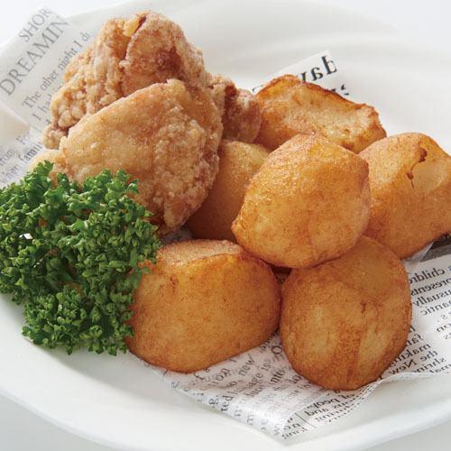 ビアホールの若鶏から揚げ(骨付き)&ポテトフライ