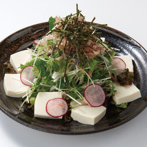水菜と香味野菜の豆腐サラダ