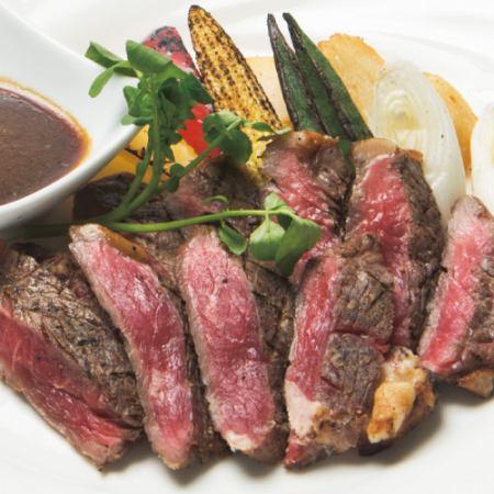 豪州産 麦育ち牛 サーロインの炙り焼き グリル野菜を添えて