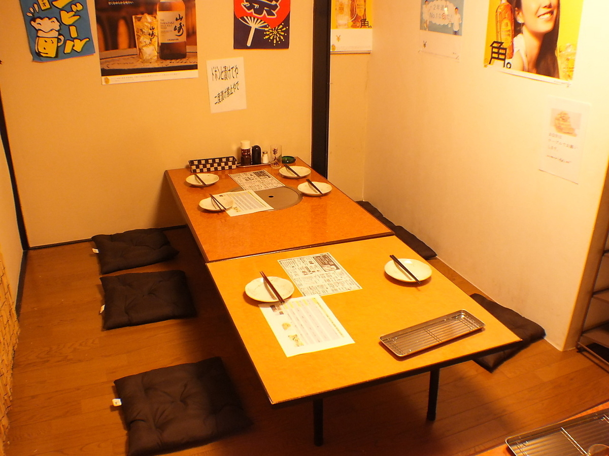 【1st Floor】 8 persons Private room table 2 units are available and you can party about 10 people! 【Izakaya Kushikatsu Yamato Drink All you can eat as you want】