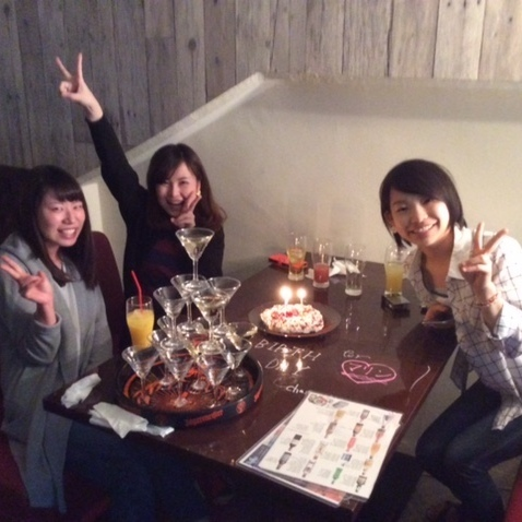 【Goodluck de table message & champagne tower & cake birthday ♪】
