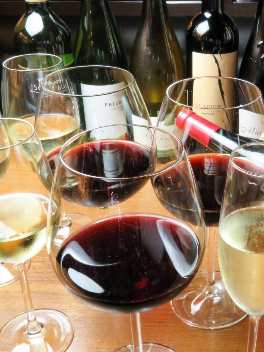 常時9種のグラスワインをご用意♪