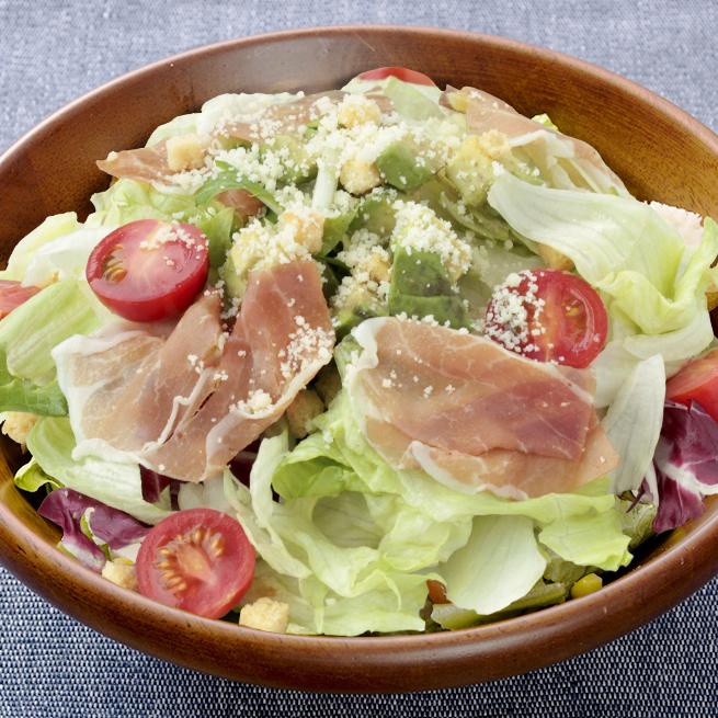 Rich ham and avocado thick caesar salad