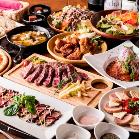 Luxurious meat bulk ♪ ☆ Sirloin steak & with pizza ☆ 【5000 yen course】 9 items + 2 hours with all you can drink