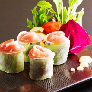 Raw spring rolls of season