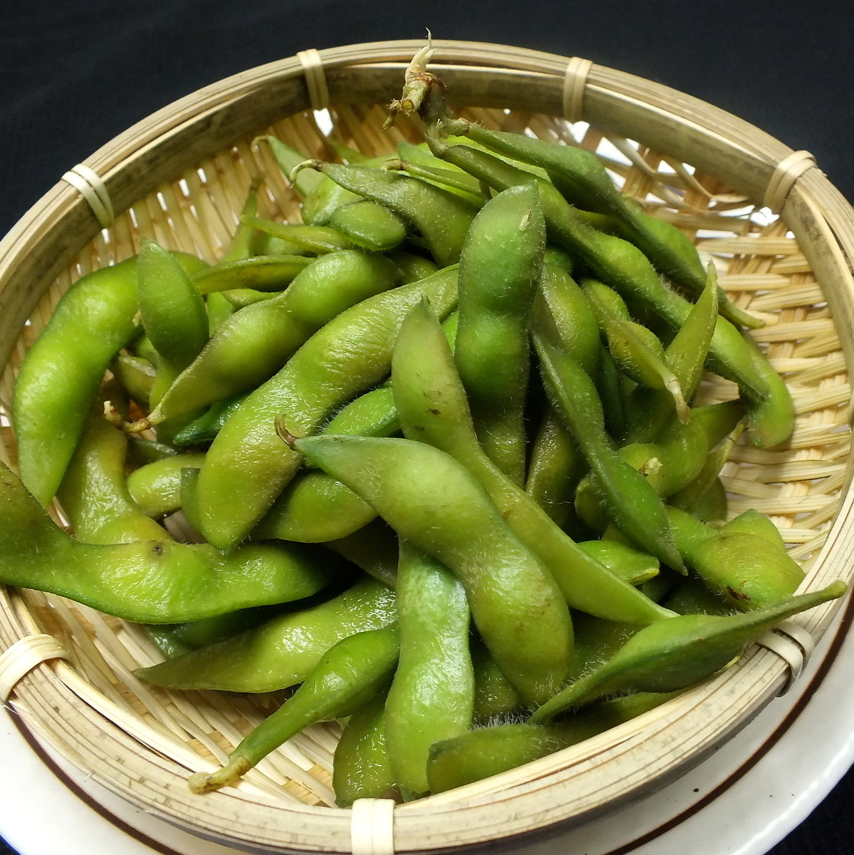 Baked edamame with branches