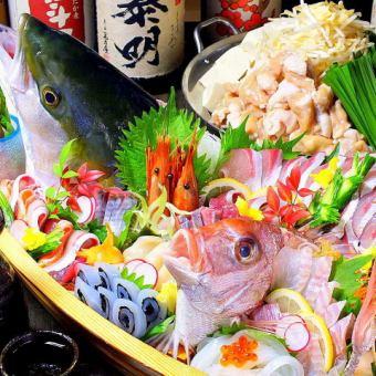 【贅沢コース】豪華姿造り×炭火串焼き3種×お寿司付き10品5000円(120分飲放付き)