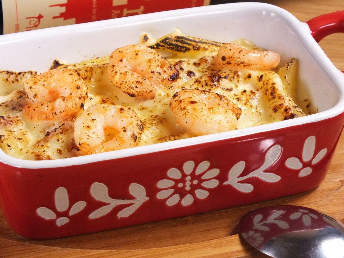蝦和Penne的奶油焗烤