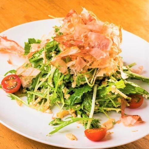 川越仙波豆腐と水菜のシャキシャキサラダ