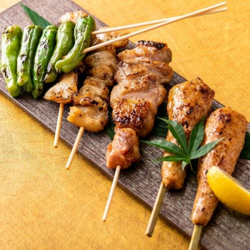 Assorted skewers (5 types) salt and sauce