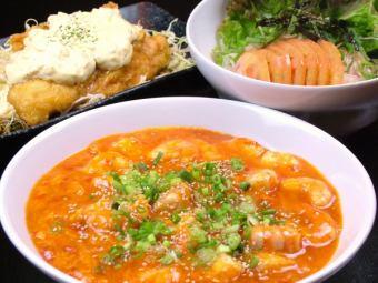 ブタキムチ・イカのバター醤油炒め・豚と茄子のミソ炒め・エビチリ・エビマヨ