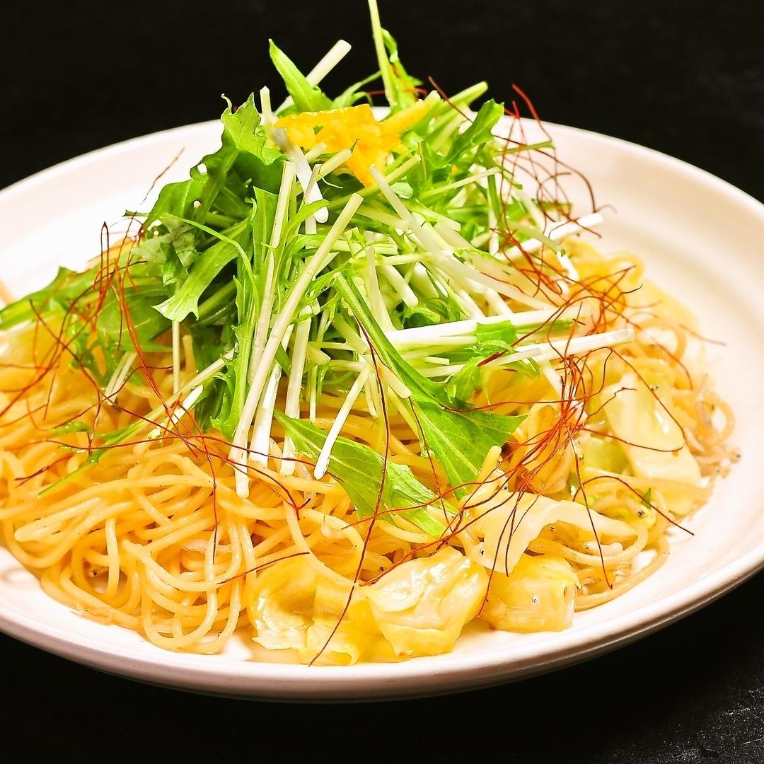 Shirasu和Mizuna日式麵食Yuzu的香味/ Yamagata壽司和明天的Tsukimi飯碗