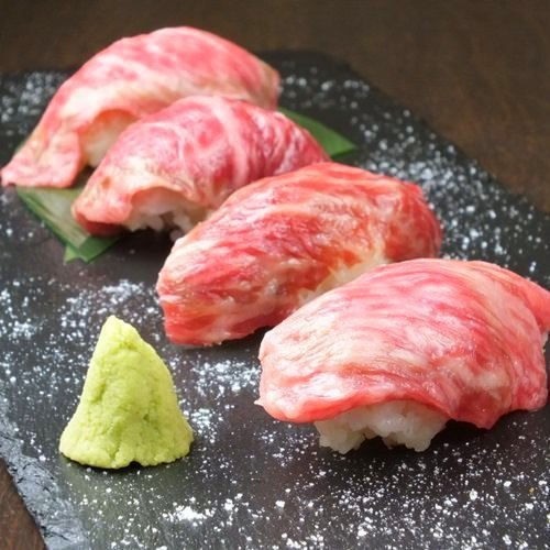 Famous Japanese black beef's meat sushi serving 4 kinds