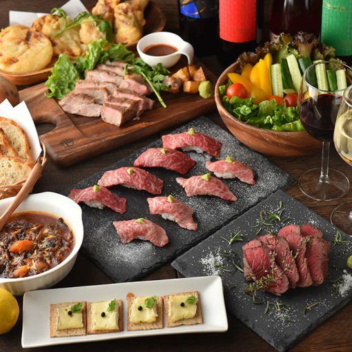 """""""新年派对""""【2.5H优质饮品】肉类制作★牛肉萨格丽牛排和黑色和牛牛肉寿司套餐7项4500日元"""