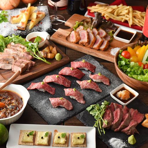 【2.5H飲用】肉類製作★草飼牛肉核桃素和牛肉壽司套餐8項5000日元(含稅)