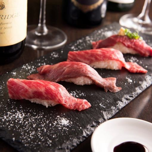 《新年会》【3H飲放】肉づくし★黒毛和牛ステーキ&A5肉寿司コース8品 6000円