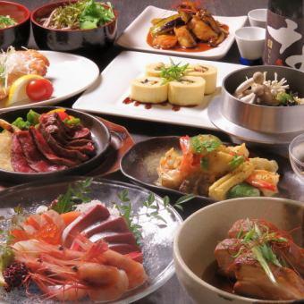 お刺身盛と季節の料理5000円コース 2.5H飲み放題付&10名以上で1名無料
