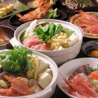 Setouchi's taste, sashimi 4 soup seafood seafood and meat pot 5,500 yen course 2.5 H with all you can drink and 1 person for 1 or more people free of charge
