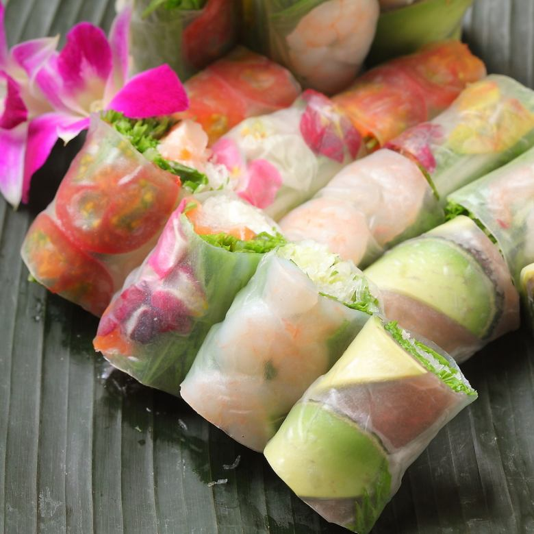 Raw spring roll roll eat comparison set