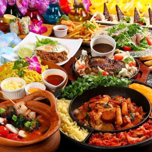 [만복 호화 코스】 선택할 수있는 3 종의 닭 갈비 · 월남 쌈 등 120 분 음료 뷔페 포함 총 8 종 3000 엔