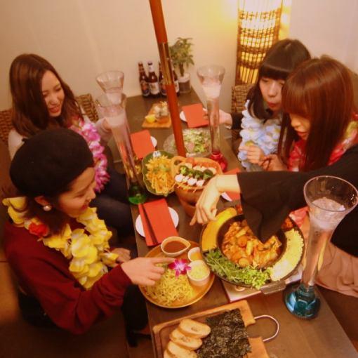 【当天OK !!华丽的女孩当然套餐】三种类型的奶酪Taccarbie&Sun  - 三种180分钟的饮料选择所有7项2800日元