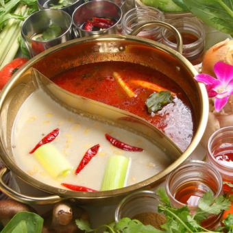 蓬鬆的肉♪藥湯6種,國內蔬菜14種☆亞洲涮涮鍋【羊肉】所有你可以吃和喝!